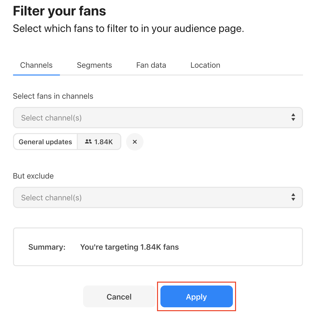 Applying filters to your audience