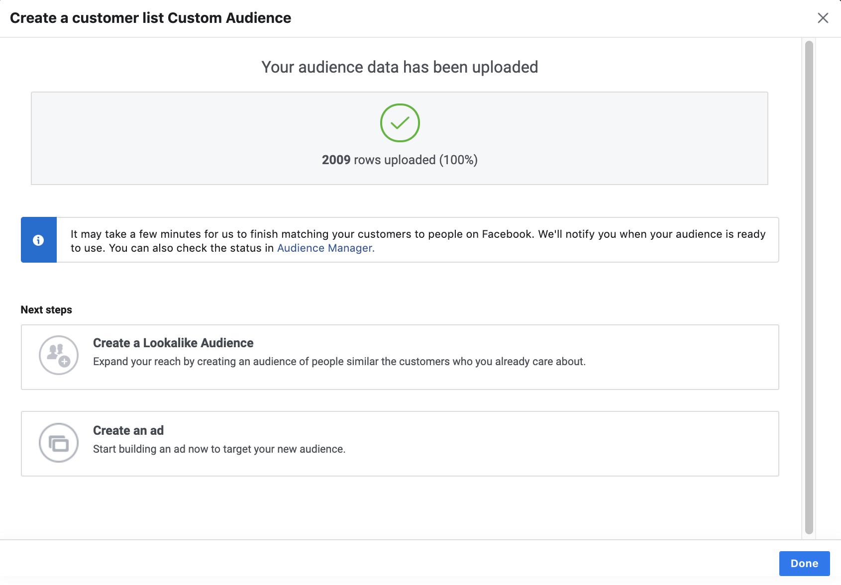 Successfully created a Custom Audience