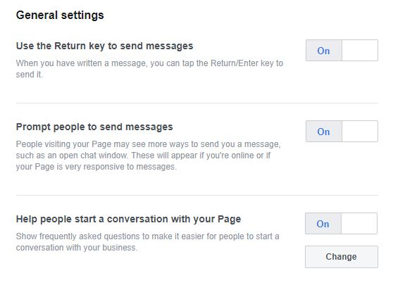 General Facebook page settings to prompt visitors to send you messages