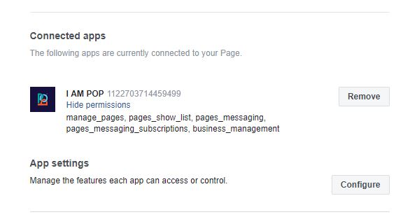 Disabling other apps in Facebook that may conflict with Messenger