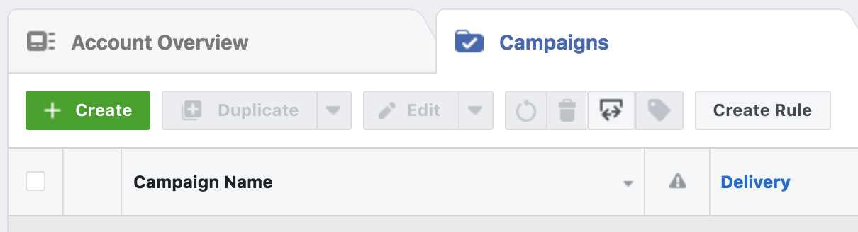 The campaigns tab in Facebook's ads manager