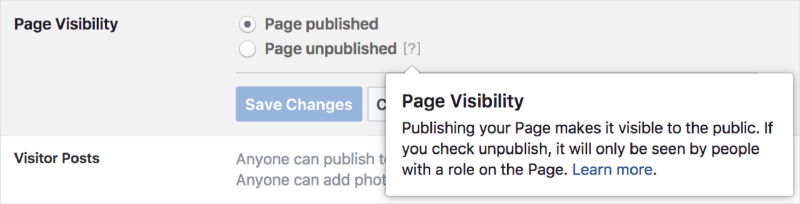 Adjusting page visibility of your Facebook page