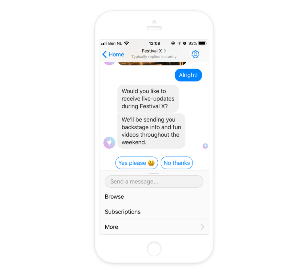 An opt-in prompt in Messenger