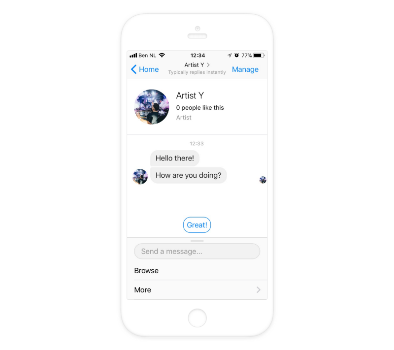A visible quick reply displayed in Messenger