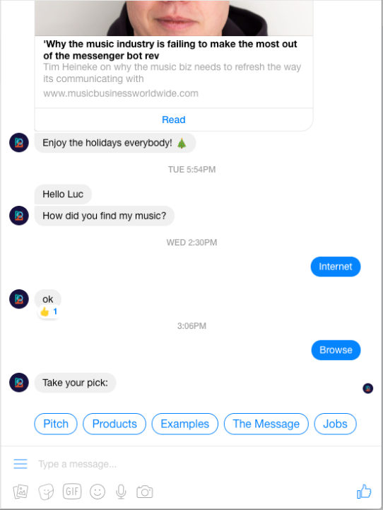 Quick Replies in Messenger