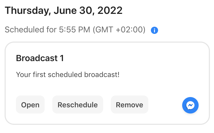Your first scheduled broadcast