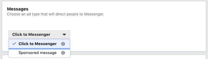 Selecting Click to Messenger