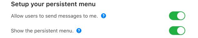 Setup your persistent menu options